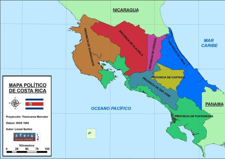 Mapa político Costa Rica