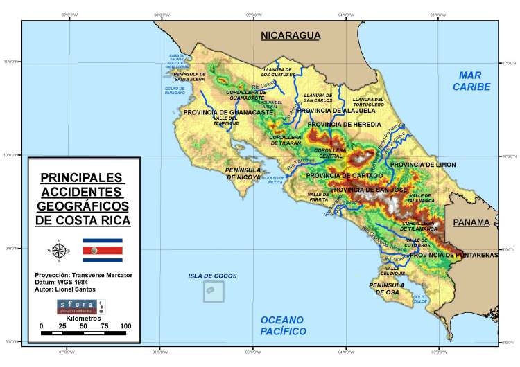 TAREA 2  Mapa principales accidentes geográficos de Costa Rica v 2