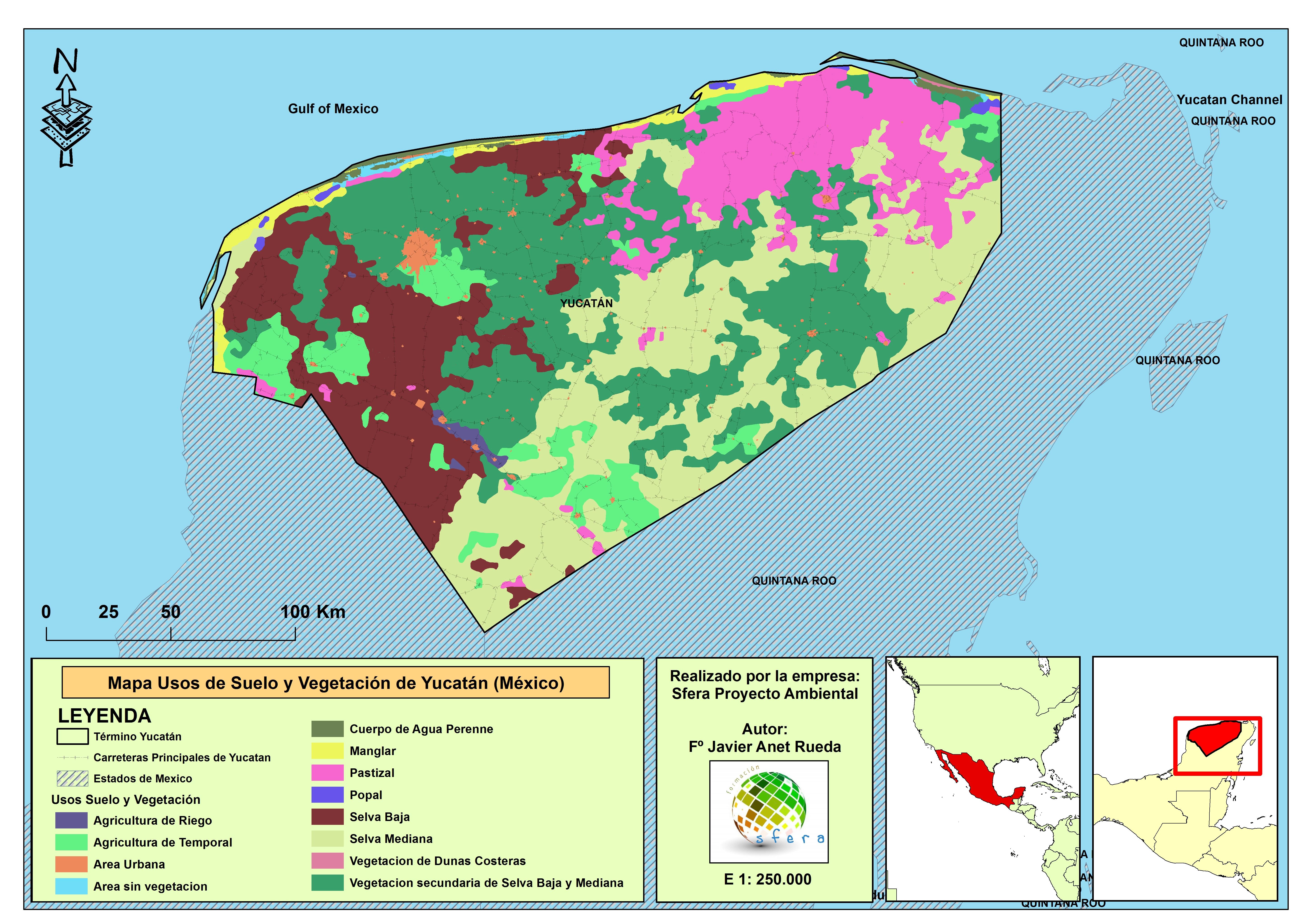 Mapa Usos Suelo y Vegetacin de Yucatn Mxico  Medio Ambiente