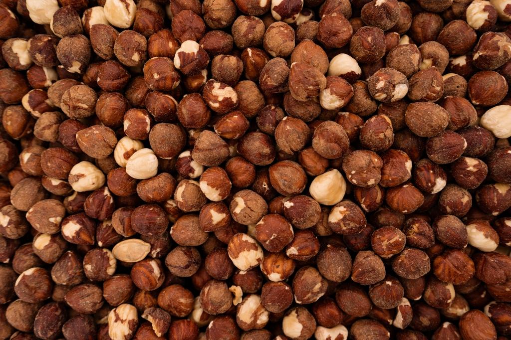 Montón de avellanas orgánicas sin piel, destinada a refinar vinagre de madera imagen recopilada por Sfera Proyecto Ambiental