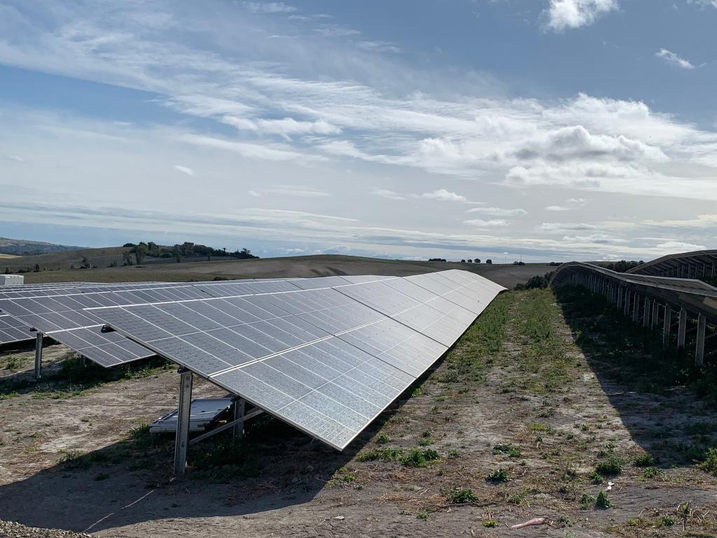 Foto de paneles solares de planta fotovoltaica durante una vigilancia ambiental. Sfera Proyecto Ambiental